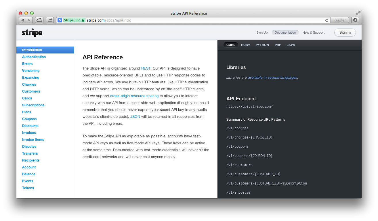 Screenshot of Stripe's API documentation