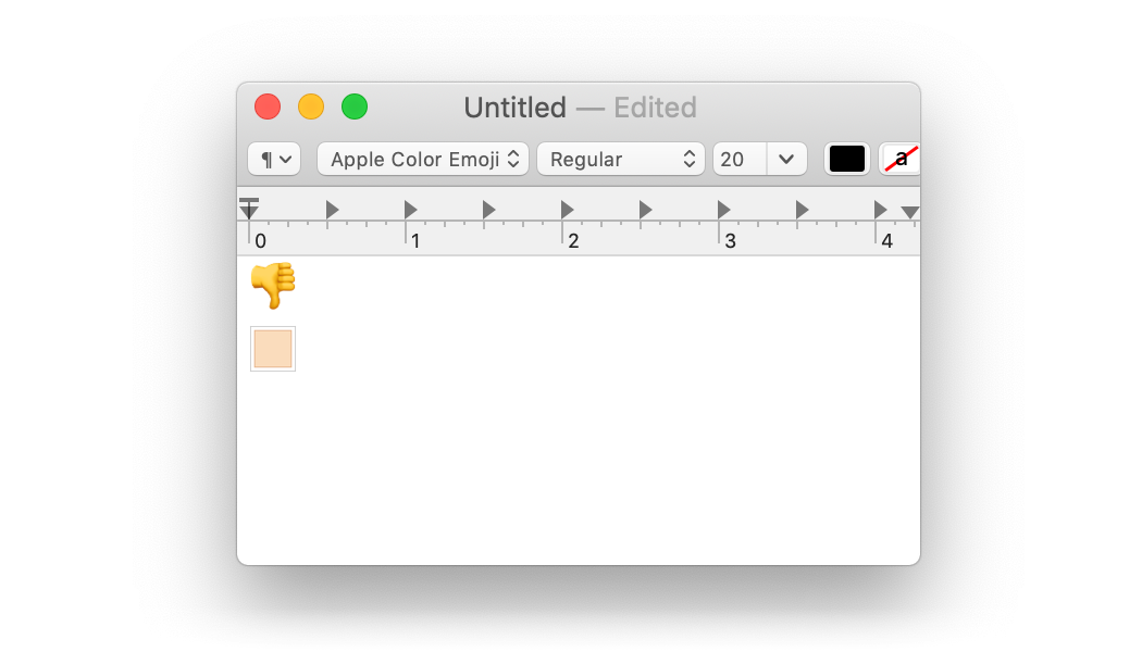 a textedit screenshot, with a thumbs down emoji on the first line and an emoji skin tone modifier on the second line