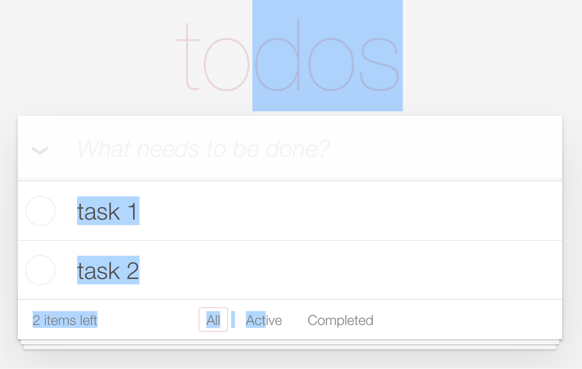 A screenshot of a todo list in the browser, but the page is selected from the header of the todo list to halfway through the footer